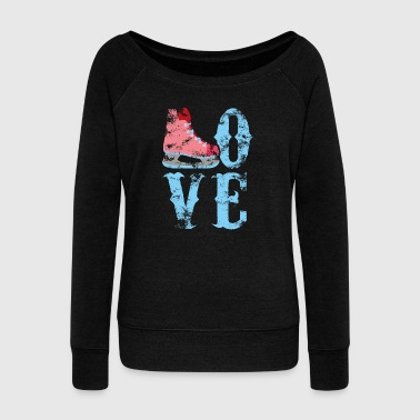 Love Ice Skating - Ice Rink Ice Skating Hockey - Women's Boat Neck Long Sleeve Top