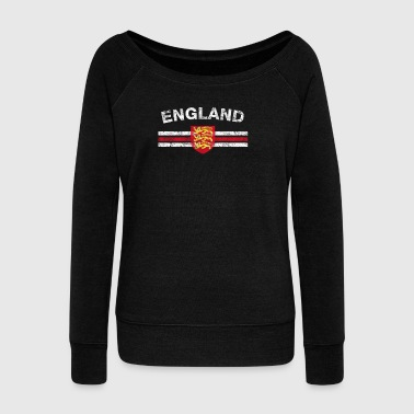 England Flag Shirt - England Emblem & England Flag - Women's Boat Neck Long Sleeve Top