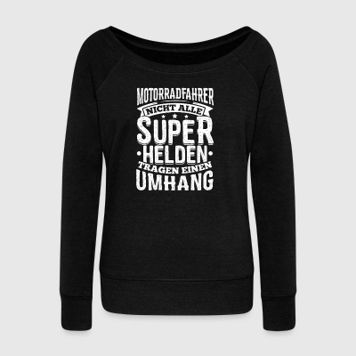 Funny Motorcycle Rider Shirt All Superheroes - Women's Boat Neck Long Sleeve Top