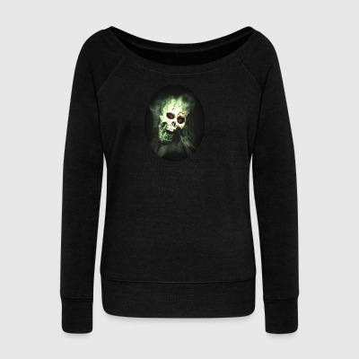 Isle of green Skull - Women's Boat Neck Long Sleeve Top
