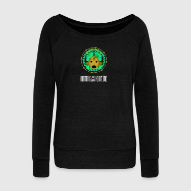 Maya empire calendar image face - Women's Boat Neck Long Sleeve Top