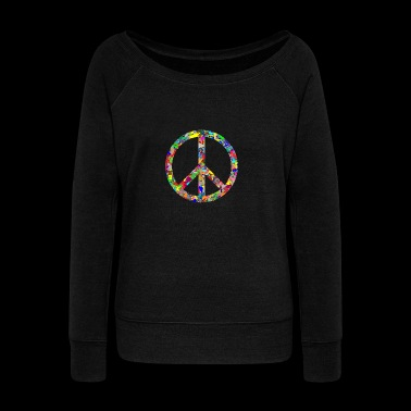 Peace sign - Women's Boat Neck Long Sleeve Top
