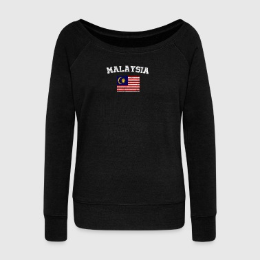 Malaysian Flag Shirt - Vintage Malaysia T-Shirt - Women's Boat Neck Long Sleeve Top