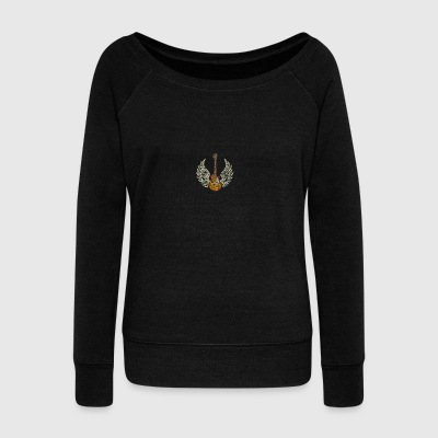 Guitar with Wings - Women's Boat Neck Long Sleeve Top
