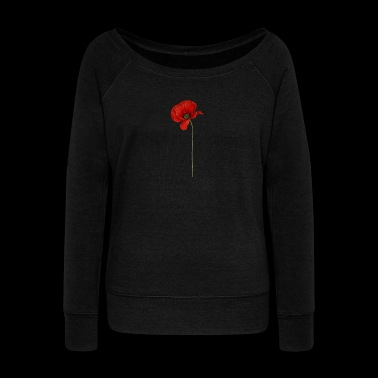 Cool Realistic Poppy Flower Gifts for Veterans - Women's Boat Neck Long Sleeve Top