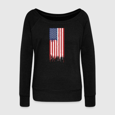 American flag - Women's Boat Neck Long Sleeve Top