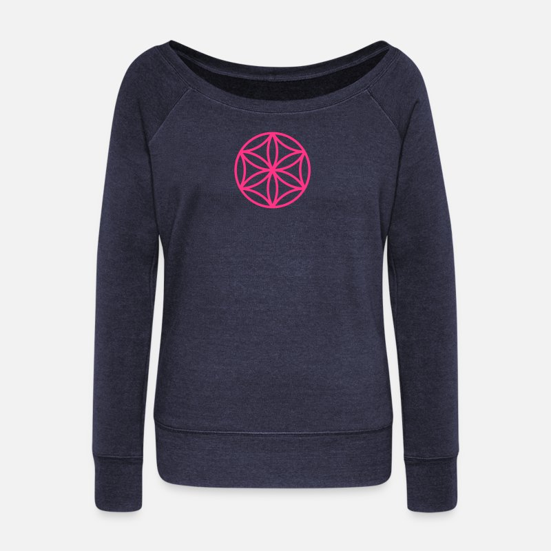 Bio Long Sleeve Shirts - Flower of Aphrodite, c, Symbol of  love, beauty and transformation, Power Symbol, Talisman - Women's Wide-Neck Sweatshirt heather navy