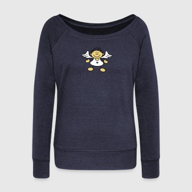 Tousled little angels - Women's Boat Neck Long Sleeve Top