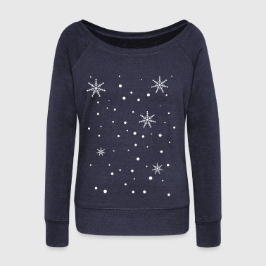 snowy day snowflakes c1 - Women's Boat Neck Long Sleeve Top