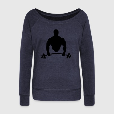 Body builder with barbell - Women's Boat Neck Long Sleeve Top