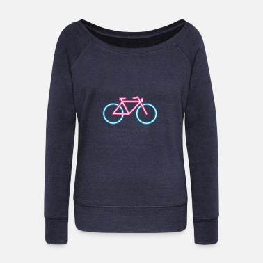 Neon A bicycle made ​​of neon tubes - Women's Boat Neck Long Sleeve Top