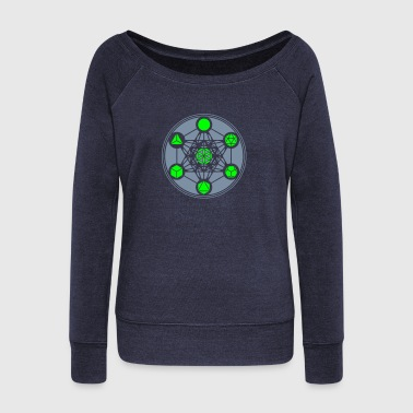 Platonic Solids, Metatrons Cube, Flower of Life - Women's Boat Neck Long Sleeve Top