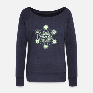 Sacred Geometry Metatrons Cube, Platonic Solids, Flower of Life - Women's Boat Neck Long Sleeve Top