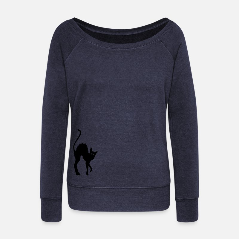 Antifa Long Sleeve Shirts - cat, Black Cat,  goth, gothic, magic, wicca, witch, cult,  Antifa, autonomous, Pangan, witches, magic, wizard, magic, elves, fairy, - Women's Wide-Neck Sweatshirt heather navy