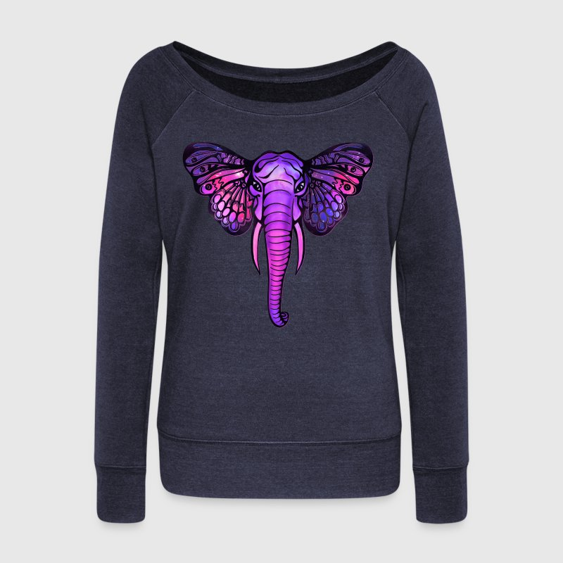 Space elephant, butterfly ears, galaxy, africa, - Women's Boat Neck Long Sleeve Top