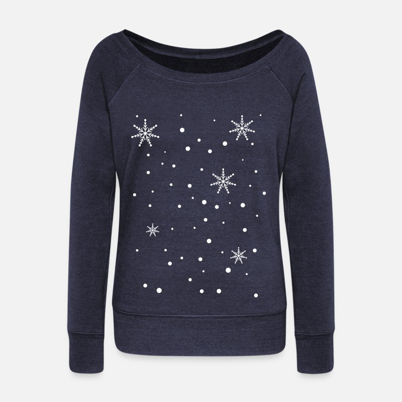 Christmas Long Sleeve Shirts - snowy day snowflakes c1 - Women's Wide-Neck Sweatshirt heather navy