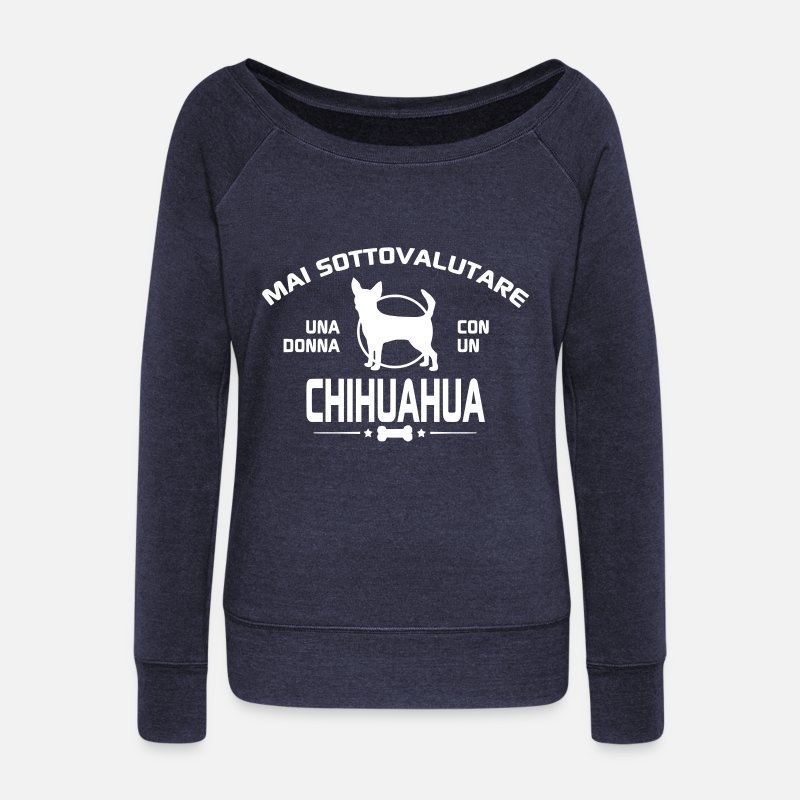 Chihuahua Maglie a manica lunga - sottovalutare-chihuahua - T-Shirt a manica lunga da donna con scollo a barca navyastro