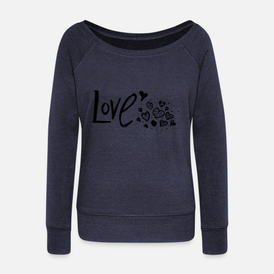 Love Long Sleeve Shirts - LOVE - Women's Wide-Neck Sweatshirt heather navy
