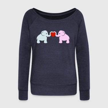 Elephant Heart Love - Women's Boat Neck Long Sleeve Top