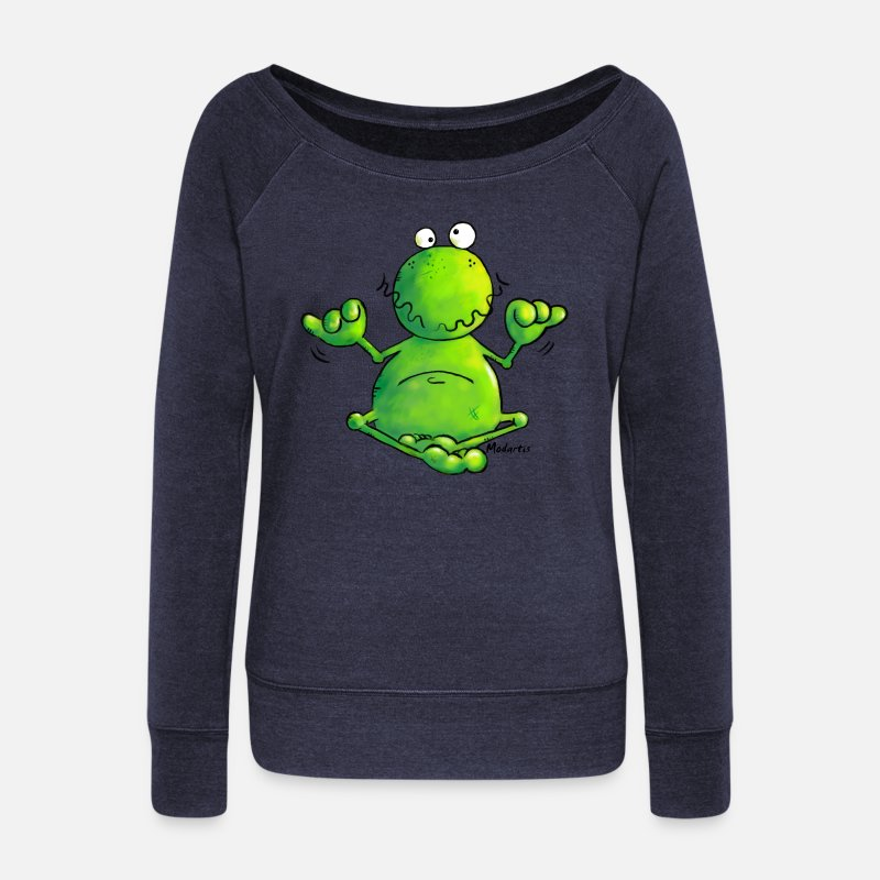 Amphibian Long Sleeve Shirts - Ohmmm frog- meditation- t-shirt design - Women's Wide-Neck Sweatshirt heather navy