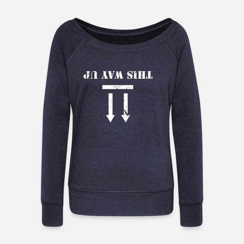 Grungy Long Sleeve Shirts - this way up - Women's Wide-Neck Sweatshirt heather navy