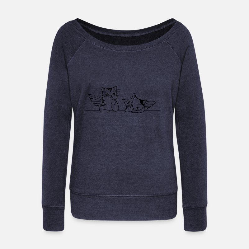 Ange Manches longues - chat ange - Pull col bateau Femme marine chiné