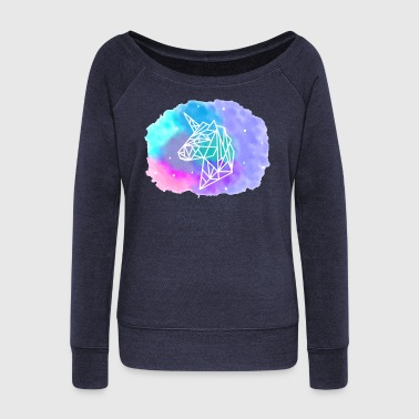 Geometric Unicorn - Women's Boat Neck Long Sleeve Top