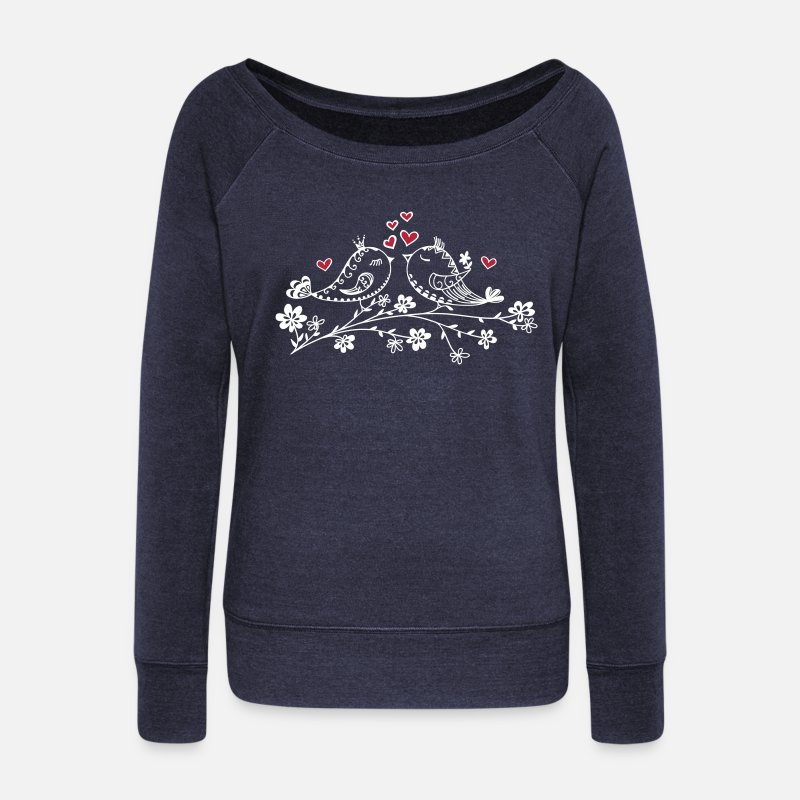 Valentine's Day Long Sleeve Shirts - Birdie Love, Heart, Bird, Spring, Summer, Kiss - Women's Wide-Neck Sweatshirt heather navy