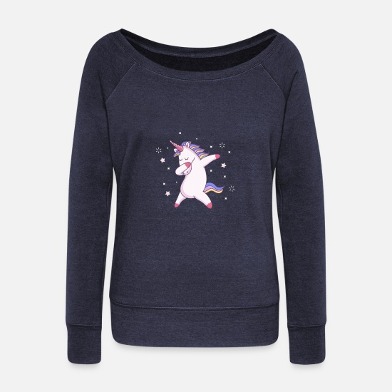 Licorne Manches longues - licorne - Pull col bateau Femme marine chiné