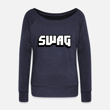 Swagg SWAG Black and White - Women's Boat Neck Long Sleeve Top