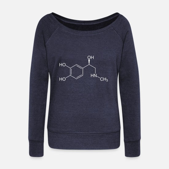 Gift Idea Long sleeve shirts - Adrenaline structural formula - Women's Wide-Neck Sweatshirt heather navy