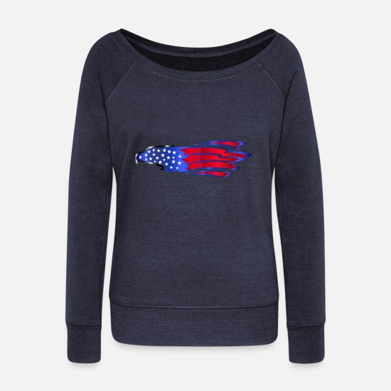 Usa Langærmede shirts - USA Amerika Flag Stars and Stripes Eagle Adler - Sweatshirt med ubåds-udskæring dame navymeleret
