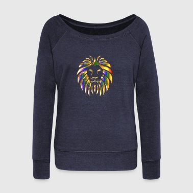 gold rainbow colored lion head - Women's Boat Neck Long Sleeve Top