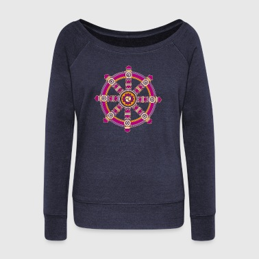 Dharmachakra, Darma Wheel of Law, Buddhist Symbol - Women's Boat Neck Long Sleeve Top