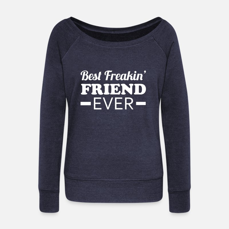 Bff Manches longues - Best Friend - Pull col bateau Femme marine chiné