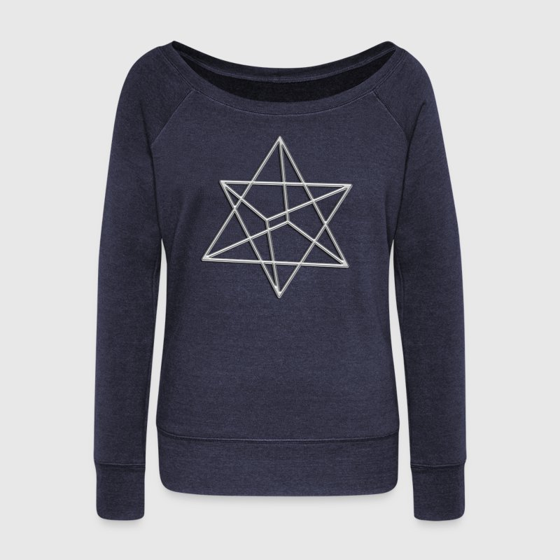 Merkaba, 3D, silver, divine light vehicle, sacred geometry, flower of life, , Energiesymbol, Kraftsymbol, Heilsymbol, Heilung,  Healing, Energy, Energie, Sign, Zeichen, Kraft Symbol - Frauen Pullover mit U-Boot-Ausschnitt von Bella