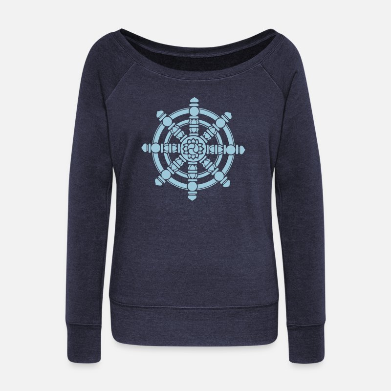Buddhism Long Sleeve Shirts - Dharma Wheel, lucky symbol, Buddhism, Chakra - Women's Wide-Neck Sweatshirt heather navy