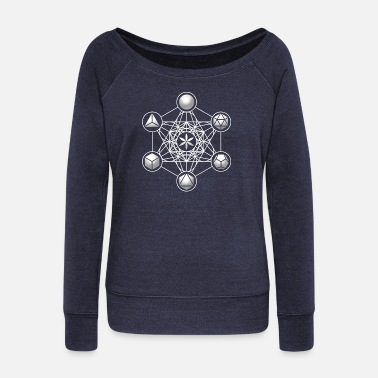 Sacred Geometry Metatrons Cube, Platonic Solids, Sacred Geometry - Women's Boat Neck Long Sleeve Top
