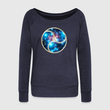 Yin Yang Balance Triskelion Galaxy Star Universe   - Women's Boat Neck Long Sleeve Top