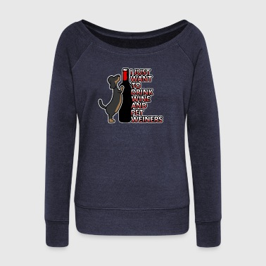 Weiners and Wine Dachshund and Wine Gift - Women's Boat Neck Long Sleeve Top
