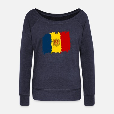 Bandera Andorra bandera - Andorra flag - Women's Boat Neck Long Sleeve Top