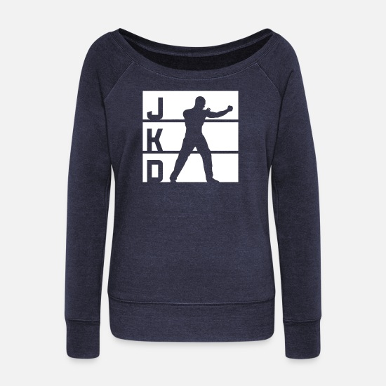 Martial Arts Long Sleeve Shirts - JKD • LOGO-01_v01 - Women's Wide-Neck Sweatshirt heather navy