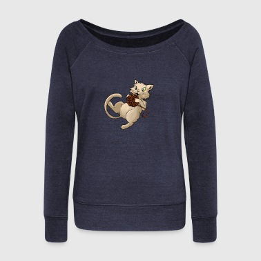 Cat wool ball of wool Kitty Animal Pets - Women's Boat Neck Long Sleeve Top
