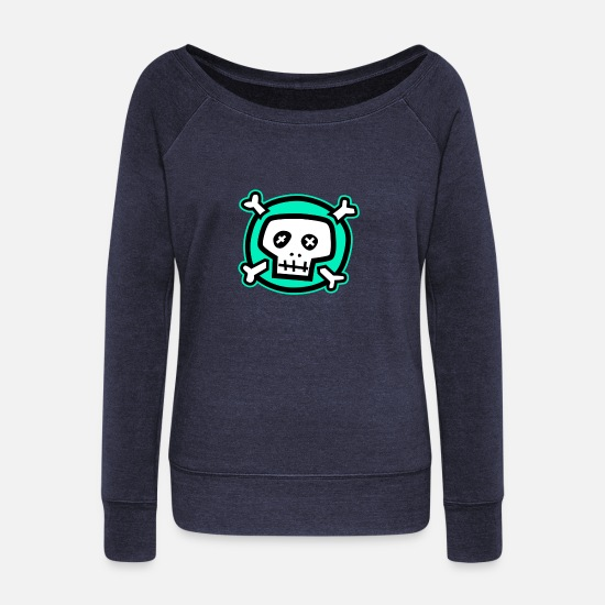 Green Long Sleeve Shirts - Green skull-Green skull - Women's Wide-Neck Sweatshirt heather navy