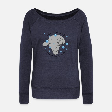 Manatee Dab - Women's Wide-Neck Sweatshirt