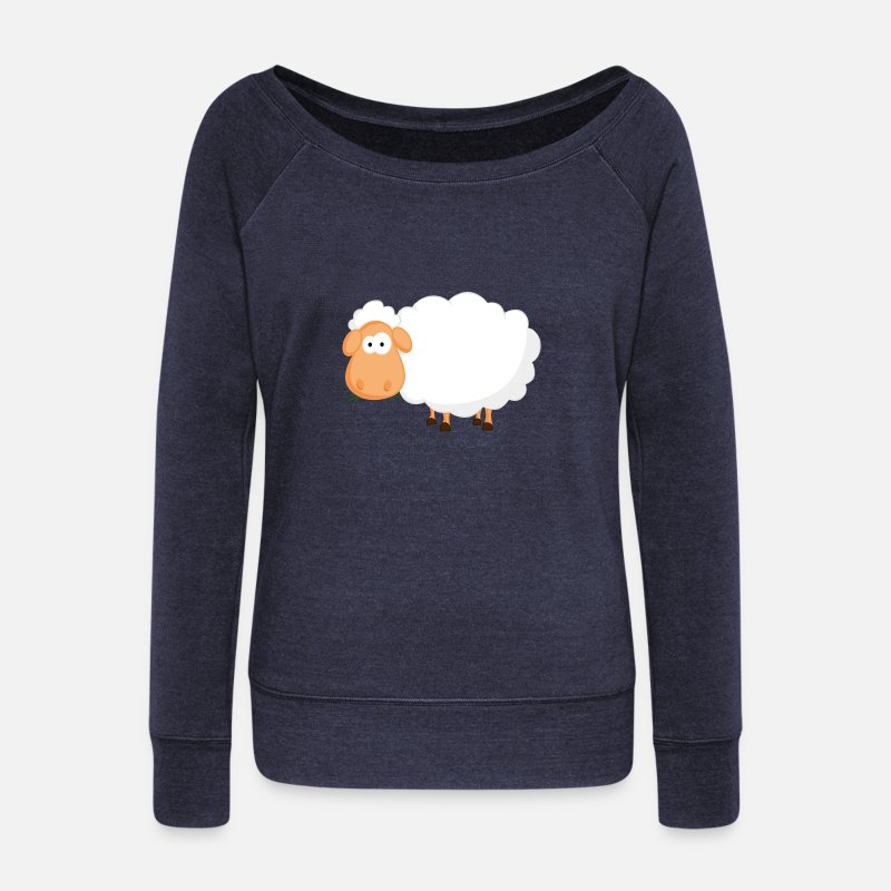 Geek Manches longues - mouton.png - Pull col bateau Femme marine chiné
