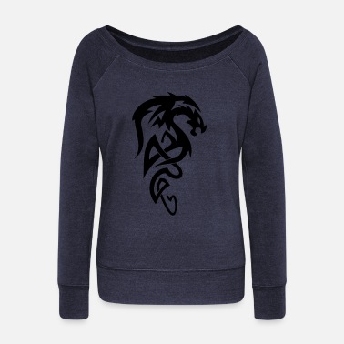 Dragon Tribal Dragon - Women's Boat Neck Long Sleeve Top