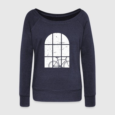 Windows Bicycle at the window - Women's Boat Neck Long Sleeve Top