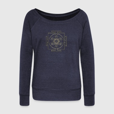 Yantra - Metatron`s Cube - Flower of Life / - Women's Boat Neck Long Sleeve Top