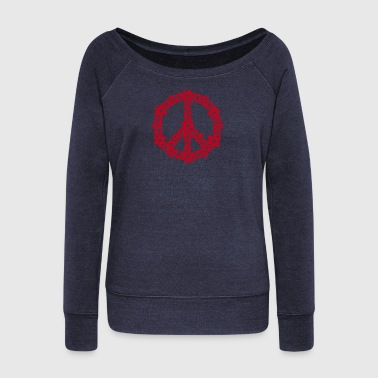 PEACE SYMBOL - peace sign, c, symbol of freedom, flower power, hippie, 68er movement, Woodstock - Bluza damska Bella z dekoltem w łódkę